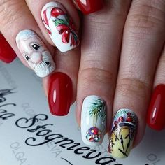 manicure with Santa (red color as background respectively)