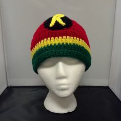 Bobbie Bomber Robin crochet beanie now available for purchase at Geeky Mamas!