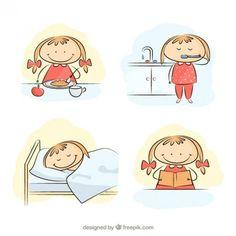 Petite fille dans sa routine matinale