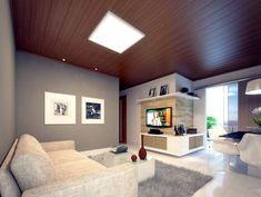 forro de pvc texturizado na sala de estar Pvc Ceiling Design, Ceiling Design Living Room, Home Ceiling, Wall Panel Design, Narrow House, Home Bedroom, House Design, Interior Design, Home Decor
