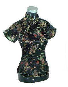 Cheap button punch, Buy Quality button toy directly from China button jacket Suppliers: Black Traditional Chinese Women Silk Satin Blouse Summer Short Sleeve Shirt Tops Handmade Button Clothing S M L XL XXL WS052