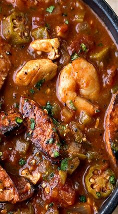 """Gumbo-laya"" With Spicy Sausage, Chicken & Shrimp"