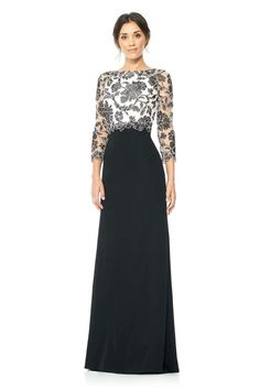 Tadashi Shoji Black and Ivory Peony Embroidered Stretch Crepe Gown Size 8 NWT Mob Dresses, Fashion Dresses, Formal Dresses, Wedding Dresses, Tadashi Shoji Dresses, Mother Of Groom Dresses, Lace Dress With Sleeves, Beautiful Dresses, Evening Dresses