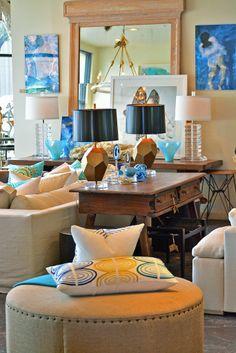 Tan #ottoman with geometric detailed lumbar #pillows and gorgeous #framed #mirror at #Dallas #Mecox #interiordesign #MecoxGardens #furniture #shopping #home #decor #design #room #designidea #vintage #antiques #garden