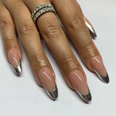 Almond Acrylic Nails, Best Acrylic Nails, Plaid Nails, Swag Nails, Stylish Nails, Trendy Nails, French Tip Nail Art, French Manicure Gel Nails, Chrome Nails
