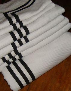 Matouk 7 Pc King Diamond Pique Matelasse Coverlet White W Black Trim 6 Shams #Matouk #Traditional