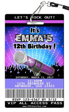 Karaoke Birthday Invitations printed on Plastic VIP Badges! Karaoke Party, Music Party, Personalized Birthday Invitations, Birthday Invitations Kids, Invites, Party Invitations, 10th Birthday Parties, Birthday Party Themes, Birthday Ideas
