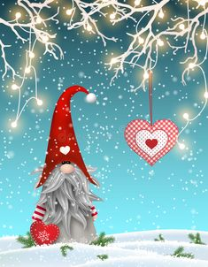 Scandinavian christmas traditional gnome, Tomte standing uder branches decorated with electric lights and hanging red. Illustration about season, cold, country, christmas - 78940553 Christmas Gnome, Christmas Signs, Christmas Pictures, Christmas Art, Vintage Christmas, Christmas Holidays, Christmas Decorations, Christmas Ornaments, Gnome Paint