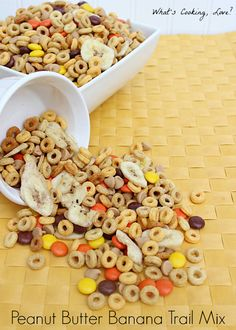 Peanut Butter Banana Trail Mix.  A delicious an easy trail mix with peanut butter and banana flavors that is a great on the go snack or a great snack for parties. #trailmix #peanutbutter #banana
