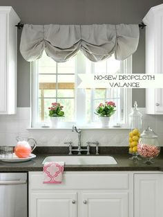 How to Make a No-Sew DIY Window Valance From Canvas Dropcloths ** for the kitchen window Ceramic Tile Backsplash, Painting Ceramic Tiles, Kitchen Backsplash, Kitchen Cabinets, White Cabinets, Kitchen Sink, Painted Tiles, Painting Tile Backsplash, Backsplash Cheap