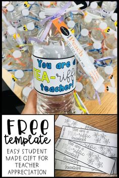 Teacher Appreciation Gift - FREE template - student made gifts - cheap, simple, and easy Appreciation Message, Volunteer Appreciation, Teacher Appreciation Week, Volunteer Gifts, Cheap Gifts, Easy Gifts, Homemade Gifts, Tea Riffic, Thank You Gifts