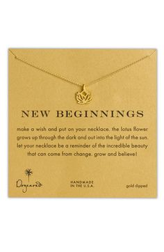 Women's Dogeared 'Reminder - New Beginnings' Boxed Pendant Necklace - Gold Dipped Cluster Necklace, Gold Necklace, Lotus Necklace, Angel Necklace, Dainty Necklace, Popsugar, Nordstrom, Ring Set, Diamond Cross