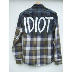 Grey Green 5SOS Michael Clifford inspired Ombre Idiot Flannel Shirt ($29) ❤ liked on Polyvore featuring tops, ombre top, grey top, grey shirt, green shirt and gray flannel shirt