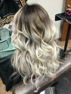 Dark shadow root to silver gray ends