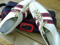 Bowling Shoes Vintage Retro Mens White Leather by VintageVigo