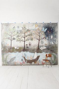 Enchanted Forest Mural -from Anthropologie (this is super whimsical, I could makeup a dozen fairytales based off this mural..how fun would that be to have in a little girl's room?)