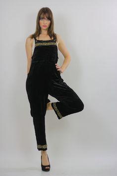 f03f4afa9e4 Vintage 90s Grunge Goth Velvet Boho Hippie Coverall Dress Jumpsuit Romper