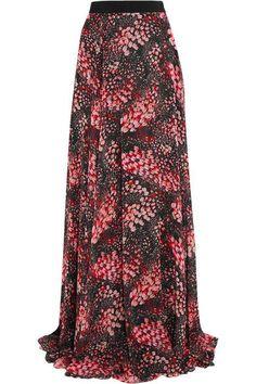 Giambattista Valli - Printed Silk-georgette Maxi Skirt - Black - IT