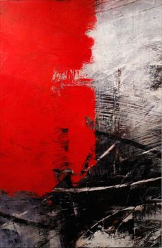Aggressive brush strokes. I like how bold the red paint looks against that monochrome texture. Painting by Ivo Stoyanov.