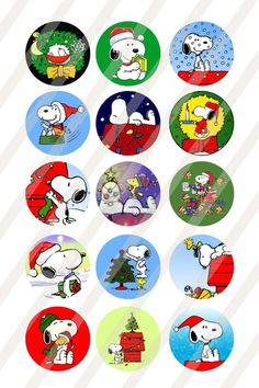 Snoopy Christmas digital collage sheet size for bottlecaps 1 inch - INSTANT… Peanuts Christmas, Charlie Brown Christmas, Charlie Brown Peanuts, Christmas Holidays, Christmas Crafts, Snoopy Valentine's Day, Snoopy And Woodstock, Peanuts Cartoon, Peanuts Snoopy