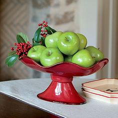 Cinnabar Footed Server looks great with green apples for the holidays. www.ellenking.willowhouse.com