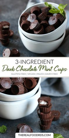 Dark Chocolate Mint Cups Clean Eating Sweets Healthy Candy Recipes Dark Chocolate Recipes Paleo Dessert Recipes Gluten-Free Dessert Recipes Dairy-Free Dessert Recipes Vegan Dessert Recipes The Real Food Dietitians Healthy Vegan Dessert, Healthy Candy, Vegan Dessert Recipes, Healthy Sweets, Dairy Free Recipes, Real Food Recipes, Gluten Free, Paleo Vegan, Paleo Recipes