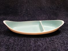 A beautiful Taylor Smith Taylor Boutonniere Two Part Relish Tray Platter - 11 inches long.   A very interesting and highly sought after Vintage, Mid-Century Collectible that is part of the TST Boutonniere Pattern.