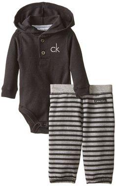 Amazon.com: Calvin Klein Baby-Boys Newborn Black Bodysuit with Stripes Pants: Clothing