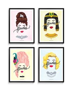 4 Flawless Posters, Calligraphy Print Series, Minimalist Women Illustrations, Music Art Print, Typography Print, Fun Creative Gift for Her