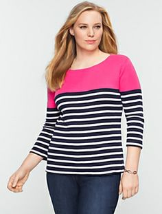 Talbots - Block-Stripe Tee | Tees and Knits | Woman