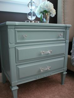 always love a painted furniture DIY project ~ taking an old wood-stained small chest of drawers and turning it into this heavenly pale pearly turquoise bedside table with new wonderful acrylic hardware Refurbished Furniture, Paint Furniture, Repurposed Furniture, Furniture Projects, Furniture Makeover, Home Projects, Dresser Makeovers, Cheap Furniture, Furniture Nyc