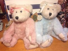 Boyds Bears Gwain & Guinevere Teddy Ribbon Heart Buttons Jointed Pair
