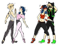 (Break-DanceAU!Miraculous: Tales of Ladybug and Cat Noir) Adrien/Cat Noir and Marinette/Ladybug