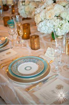 Gold and Light Blue Tabletop Design || Baltimore Bride Aisle Style Wedding Event || Stephanie Bradshaw Creative Studio || Photography Meghan Elliott