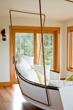 Boat converted to swinging day bed