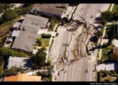 A massive, approximately 200' x 240', sinkhole opens up and tears apart the pavement of Soledad Mountain Road, October 3, 2007 in the Mount Soledad neighborhood of La Jolla near San Diego, California. (after my husband assured me it could not happen anywhere near us!)