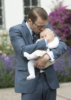 Prince Daniel's daughter is a real Daddy's girl - here he is kissing daughter Estelle for his wife's birthday in 2012.
