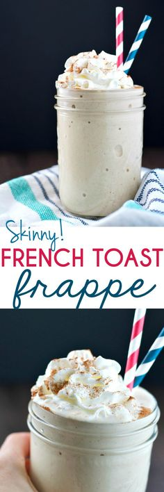 Skip the coffee shop and save some time and money! In about 2 minutes you can blend together this cool and creamy Skinny French Toast Frappe for a healthy high-protein breakfast or snack -- with less than 150 calories!