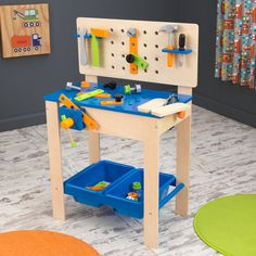 Encourage your child to build and explore with this kid-friendly workbench and tool set. Safe for little hands, the adorable, comprehensive bench is sure to inspire imaginative play. The colorful play