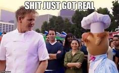A culinary battle between Gordon Ramsay and the Swedish Chef
