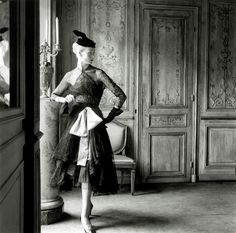 1951 Cristóbal Balenciaga, Black lace dress and coat with pink belt