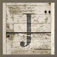 Large Distressed Monogram Wall Art in Gray