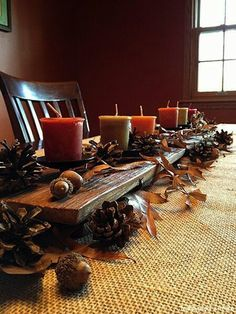 For a rustic look. Natural elements found in your yard. Reminds me of my dad. He always created a natural centerpiece from the yard for Thanksgiving with the grandkids.