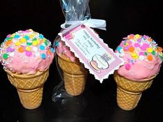 """These sweet """"ice cream"""" cones are actually Rice Krispie treats inside a cone and dipped in melted Pink Candy Coatings with candy sprinkles on top. Rice Crispy Treats, Krispie Treats, Rice Krispies, Yummy Treats, Sweet Treats, Ice Cream Cone Cake, Ice Cream Party, Party Treats, Holiday Treats"""