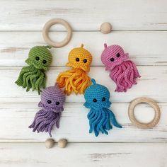 Baby mobile Ocean theme nursery Baby girl crib mobile Crochet