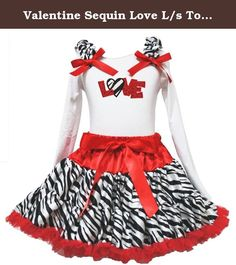 "Valentine Sequin Love L/s Top Red Zebra Girl Clothing Skirt Outfit Set 1-8y (6-8t, white). product includes: a pettiskirt, top (not include other accessory) top size chart Sizes: XS, 1-2Year , Chest(Circumference)16""-20"", Top Length 14.5"" Sizes: S, 3-4Year , Chest(Circumference)17""-21"", Top Length 15.5"" Sizes: M, 4-5Year , Chest(Circumference)18""-22"", Top Length 16.5"" Sizes: L, 5-6Year , Chest(Circumference)19""-23"", Top Length 17.5"" Sizes: XL, 6-8Year , Chest(Circumference)20""-24"", Top..."