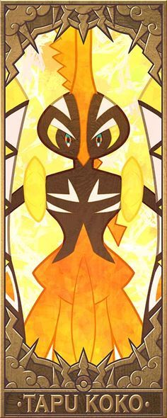 Tapu Koko, Bulu, Fini and Lele. The guardian deities of Alola. (Higher Res version for points on the side ) Different version with their names on it: