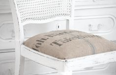White and Shabby Jade And Beck, Shabby, Grain Sack, Restaurant Design, My House, Burlap, Ottoman, House Ideas, Textiles