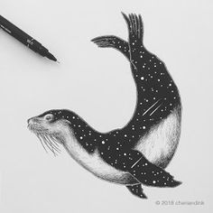 Inktober Day Sea Lion The sea lion is the most common mammal in the Galapag… Art And Illustration, Ink Illustrations, Seal Tattoo, Lion Tattoo, Tattoo Drawings, Art Drawings, Lion Sketch, Lion Drawing, Watercolor Animals