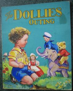 E V Abbott is a British illustrator from the 50s. I love her work! This is the cover of Dollies Outing. This art and all the ones from this and other books were for sale. Wish I could have bought a bunch!